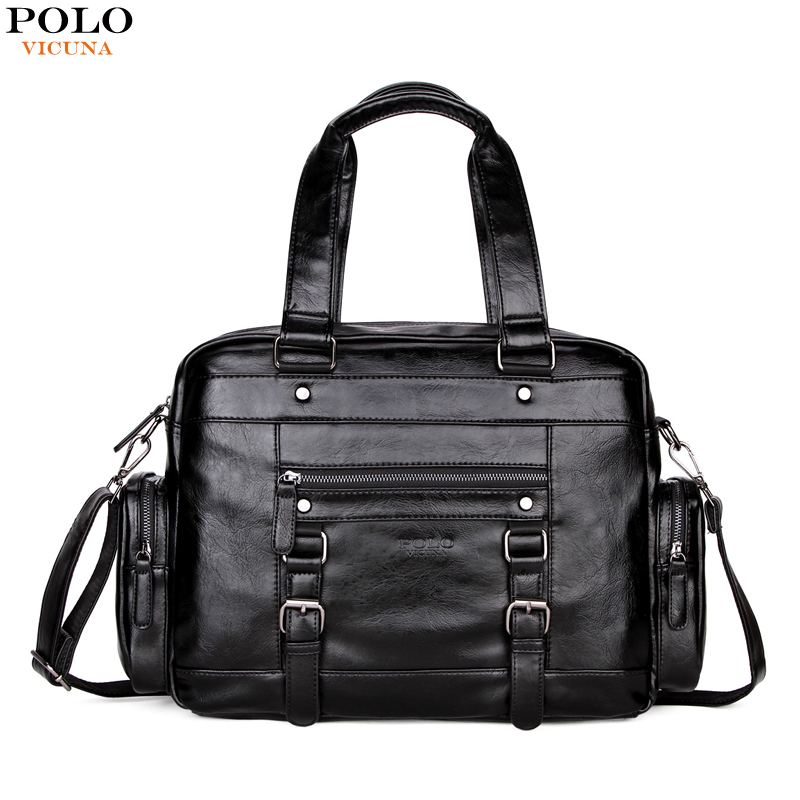 все цены на VICUNA POLO Men Leather Travel Bags With Front Pocket Big Capacity Shoulder Bag High Quality Black Brand Casual Travel Handbag онлайн