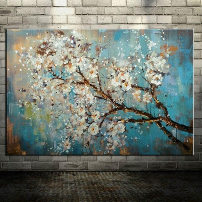 pintado a mano grande barato turquesa azul del arte de la lona pintura al leo abstracta