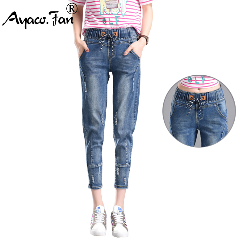 Hot Sale Summer 2019 New Slim   Jeans   Casual Women Loose Straight Denim Ankle-Length Pants Students Elastic Waist Pencil   Jeans