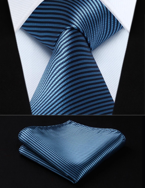 636c1ea67ca Свадьбу классического платок галстук ts603b8s aqua Темно-синие полоса 3.4  шелковые ткани Для мужчин галстук платок Набор