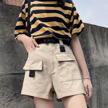 Streetwear Cargo Shorts Women Boyfriend Style BF Pure Color Pockets Belt Woman Short Summer Casual Green Black High Waist