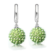 QianBei Hot Sale Multi Color 1 Pair Real Pure 925 Sterling Silver Austrian Pave Disco Ball Hoop Lever back Earring Woman Jewelry(China)
