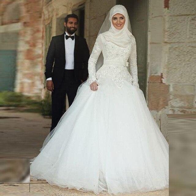 Biała Suknia Balowa Koronka Muzułmaninem Suknie ślubne Wysokiej