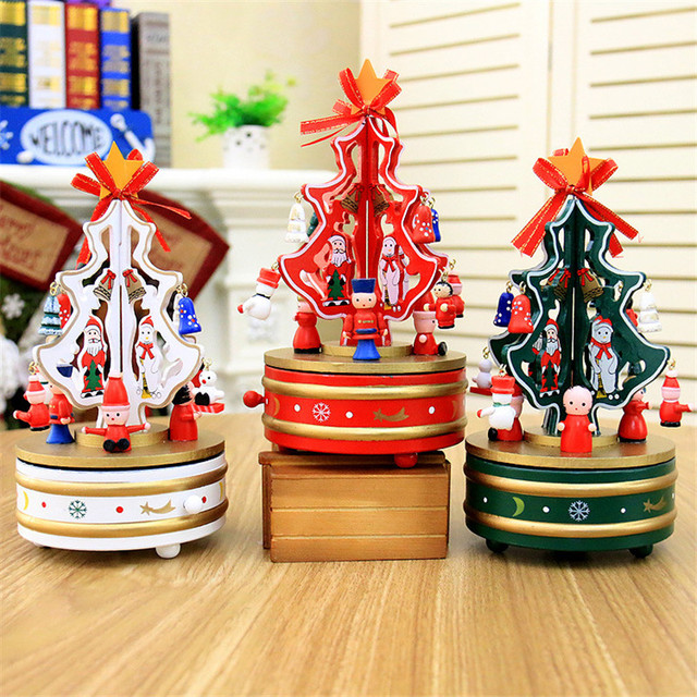 christmas decorations for home wooden rotating christmas tree music box christmas gift music box christmas desktop