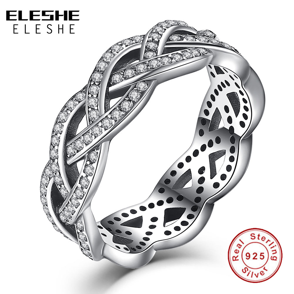 Eleshe Luxury Real 925 Sterling Silver Rings Eternity