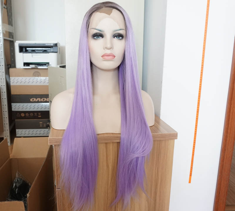 ФОТО fashion purplr hair wigs synthetic lace front wigs for women heat resistant ombre straight wig free shipping