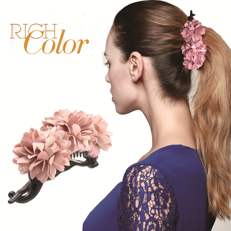 Aikelina Fashion high quality Banana Clip Horsetail Flowers Hair Grip Cute Girls Women Hair Headwear Accessories Hot Sale women headwear 2017 retro hair claw cute hair clip for girls show room vitnage hair accessories for women
