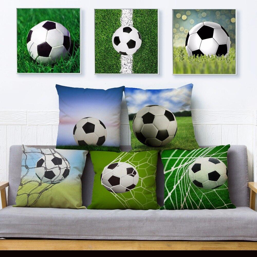 Наволочка с мультяшным принтом футбольного мяча, 45*45 см, квадратная наволочка для подушки, хлопковые льняные наволочки для диванных подушек...