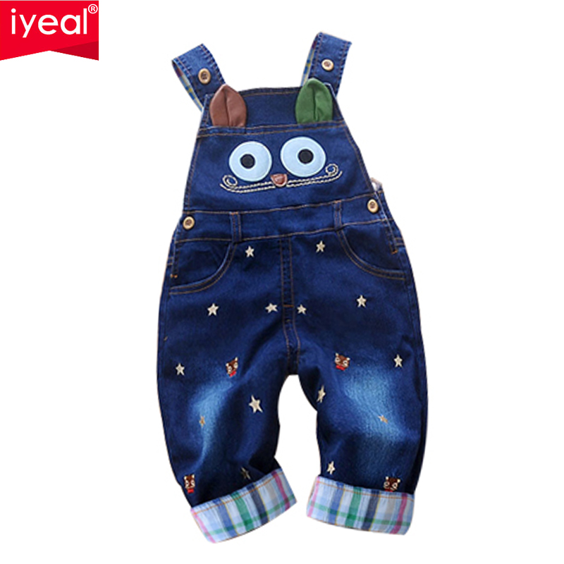 цена на IYEAL 2017 Autumn Baby Rompers Animal Baby Boy Girl Jeans Jumpsuit High Quality Denim Overalls Infant Clothing Baby Clothes 0-2Y