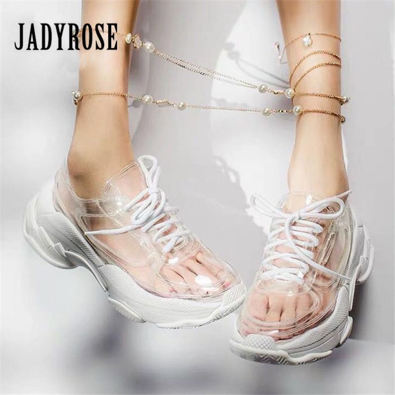 Jady Rose Transparent PVC Women Sneakers Platform Creepers Lace Up Flat Shoes Woman Ladies Trainers Casual