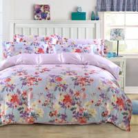 サテンシルク寝具セットベッドリネン毛布布団カバーセットツインフル女王王サイズ高級紫の花の女の子ホーム
