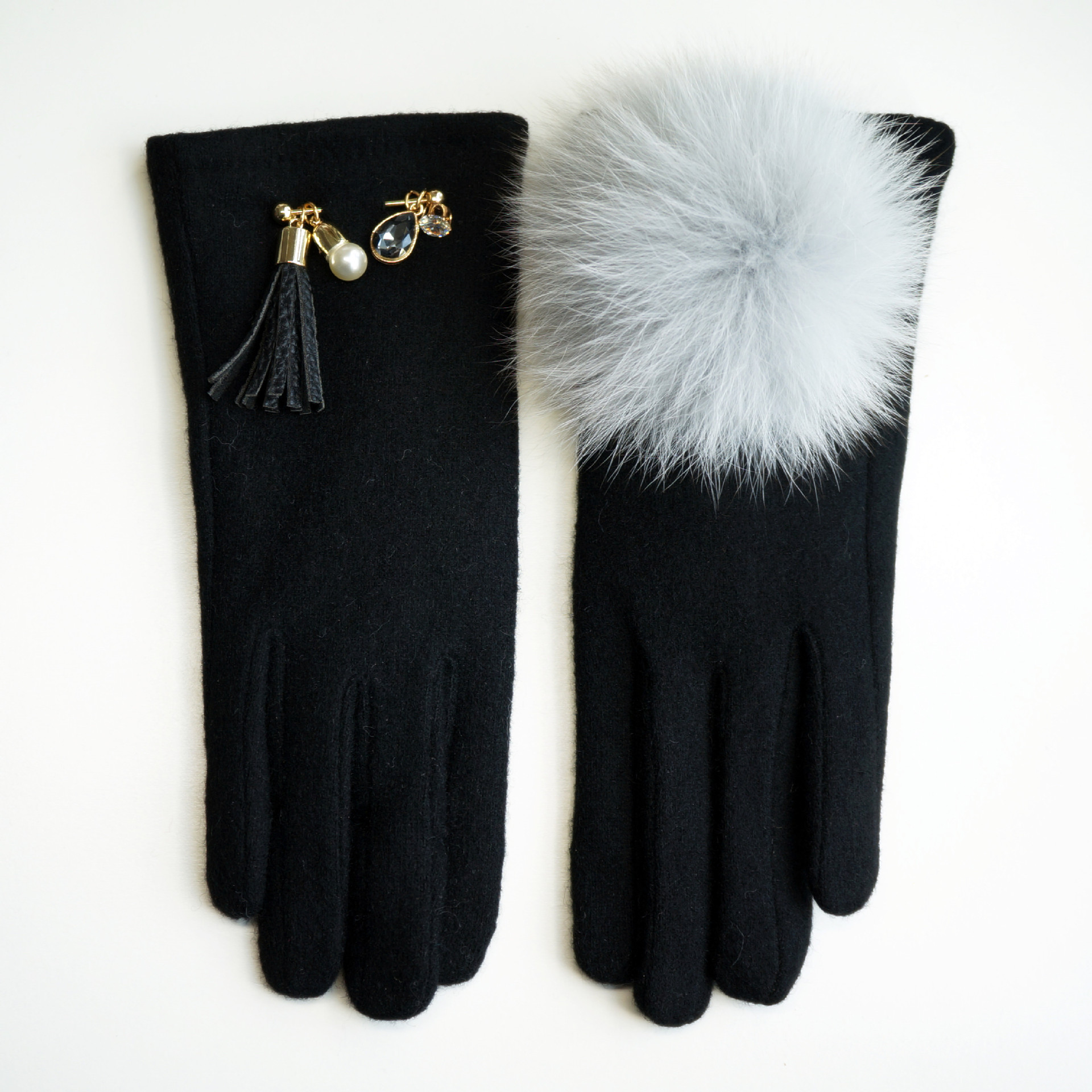 Hospitable Msd025 New Fashion Winter Accessories Tassel Fox Wool Cashmere Gloves With Fluffy Touch Screen Gloves For Winter Mittens Apparel Accessories