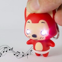 hot sale Little red fox LED sound light key chain creative gift accessories Flashlight pendant wholesale