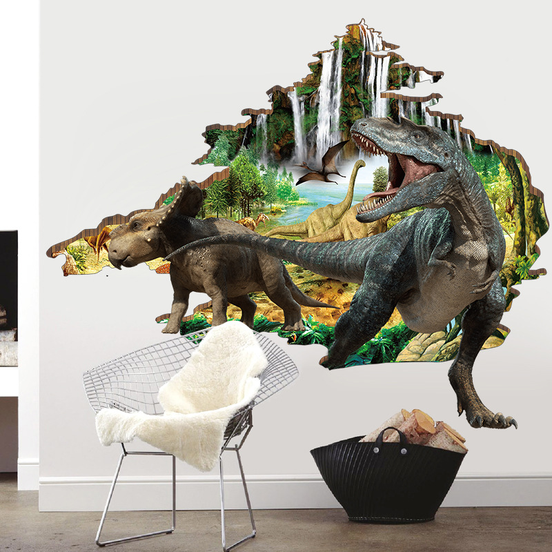 Large art posters Dinosaur Vinyl wall Stickers Sitting room TV background wall kids room Tyrannosaurus decor stickers mural Щипцы