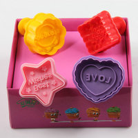 AMW 3D Square Heart Star Flower Shape Cookies Stamp Plastic Cake Plunger Cutters Tools