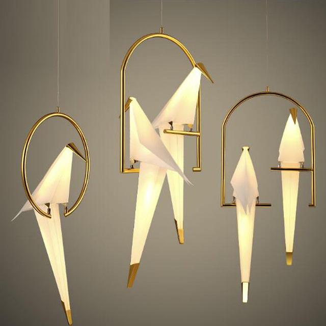 Lâmpada moderna do Pendente Acrílico pássaro paisagem luzes LED ajustável 220 V Especial decoração pingente de ouro