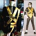 Майкл джексон стиль золото линзы цепь сцена производительность костюмы ночной клуб бар dj певица одежда комплект