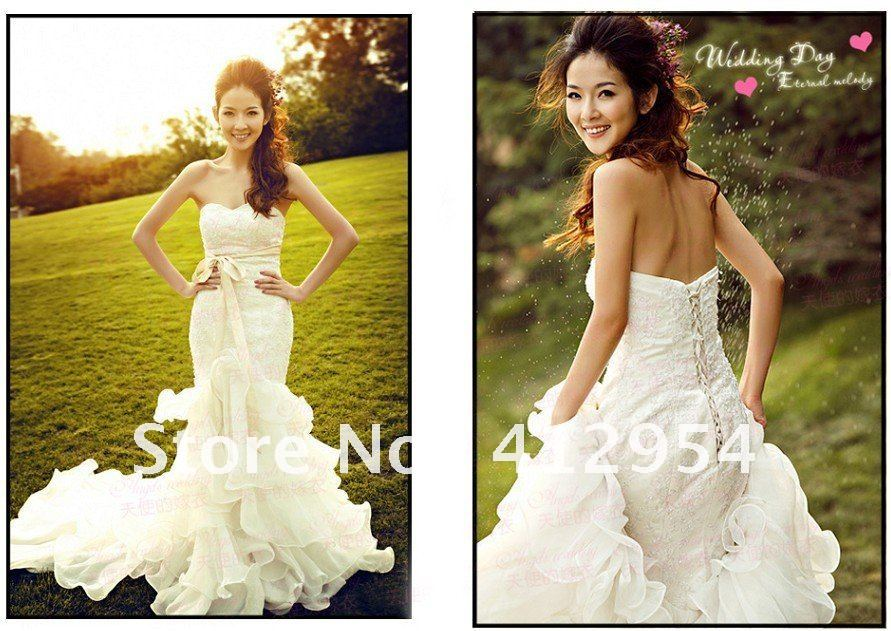 Strapless Mermaid Wedding Gown: EMS Free Shipping Elegant Lace Strapless Necklace, Mermaid