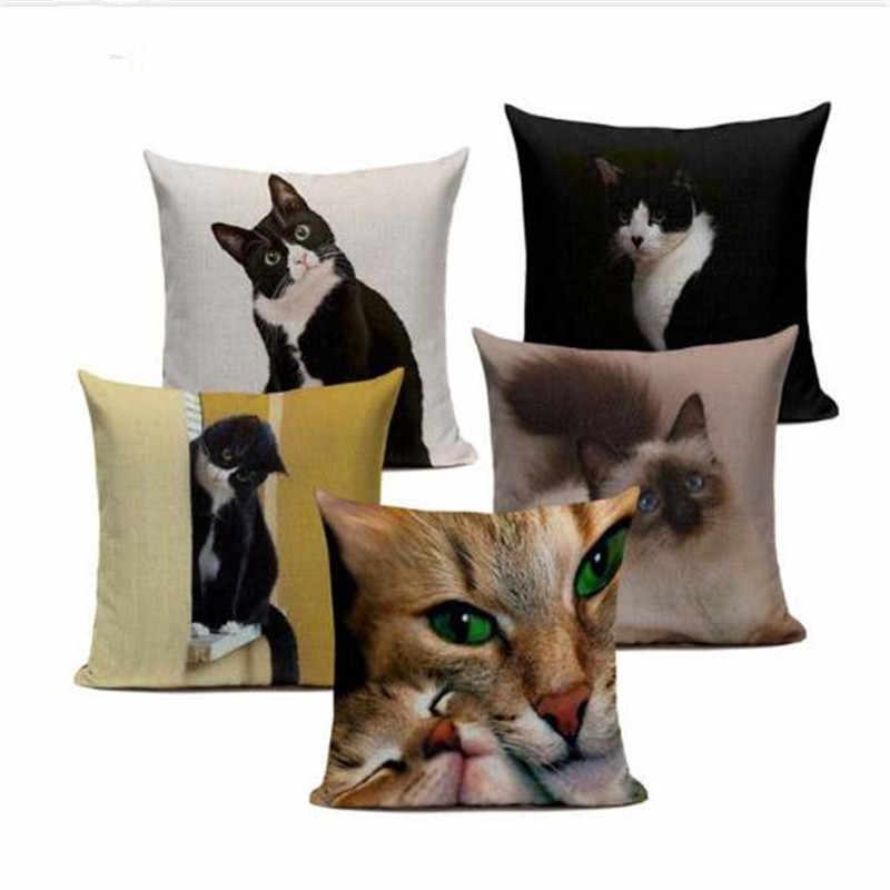 Новый чехол белье подушки черный белый цвет ручная роспись желтый милый кот