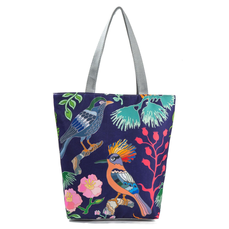 Women Canvas Floral Flowers Printing Shoulder Handbag Tote Shopping Shopper Bag