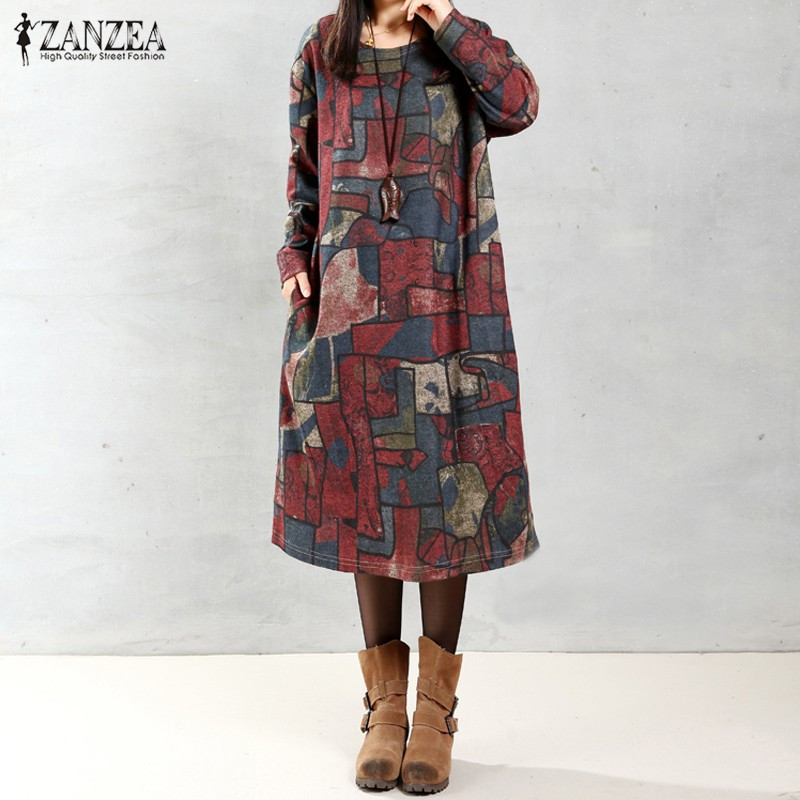 ZANZEA Baggy Vestidos 2018 Women Cotton Linen Dresses Long Sleeve O Neck Pockets Printed Casual Loose Dress Robe Vestido