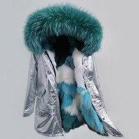 parka Silver pu coat real fox fur coat winter jacket women natural raccoon fur collar warm thick parkas Detachable