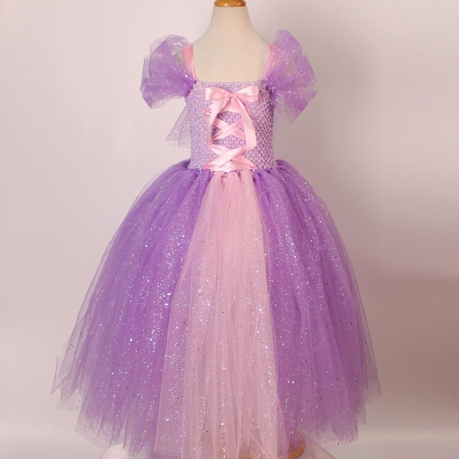 Kids Girls Cosplay Rapunzel Princess Dress Costume Children Masquerade Ball Gowns For Kids Halloween Birthday Party Tutu Dress children egyptian pharaoh costumes 2016 new cosplay masquerade halloween childen kid suit cleopatra royal fantasia disfraces