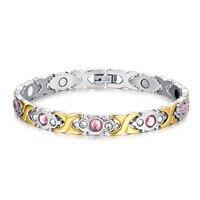 Magnetic Bracelet Health Care Elements Chain Bracelet Pink Crystal Gold Color 316L Stainless Steel Bracelets For
