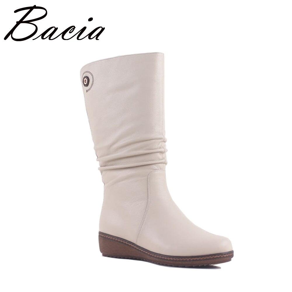 Bacia Blanc Élégant Bottes En Cuir Véritable Femmes Chaussures Wedge Faible Talon Mi-mollet Neige Bottes Femmes Moto Bottes Taille 36 -40 MA006