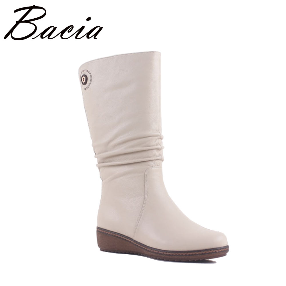 Bacia White Elegant Boots Genuine Leather Women Shoes Wedge Low Heel Mid Calf Snow Boots Women Motorcycle Boots Size 36-40 MA006 spring black coffee genuine leather boots women sexy shoes western round toe zipper mid calf soft heel 3cm solid size 36 39 38