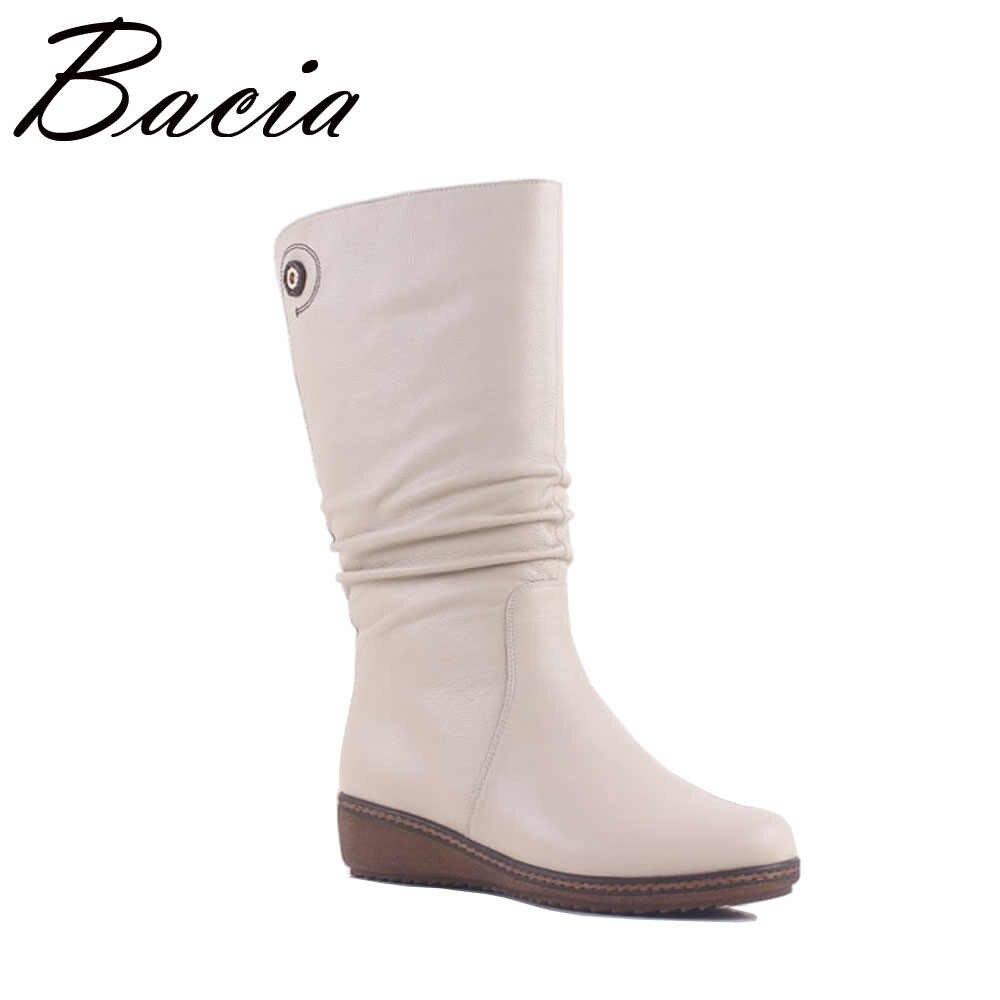 Bacia Белый Элегантные полусапожки женская обувь из натуральной кожи зимние  сапоги до середины голени на b4301ac119a
