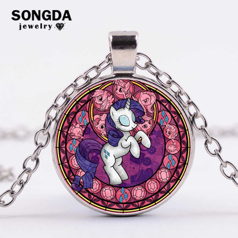 SONGDA Cartoon My Little Horse Baoli Poni Series Necklace Cute Magic Rainbow Horse Glass Gem Pendant Necklace Girl Birthday Gift