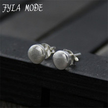 Fyla Mode New Arrival 100% 925 Sterling Silver Round Push Back Stud Earrings for Women Thai Silver Fashion Jewelry 5.50mm 1.40g