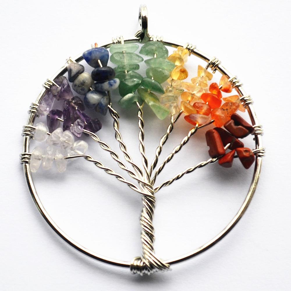 Prix pour 2017 3 PCS La Sagesse De La Mode Arbre Charme 7 Chakra Reiki Guérison arbre de Vie Pendentif Cristal Naturel Bijoux En Pierre pour les Femmes cadeau