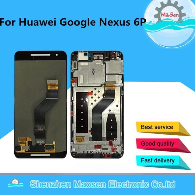 """5.7 """"m & sen para huawei google nexus 6p tela lcd + painel de toque digitador com moldura para google nexus 6p exibição"""