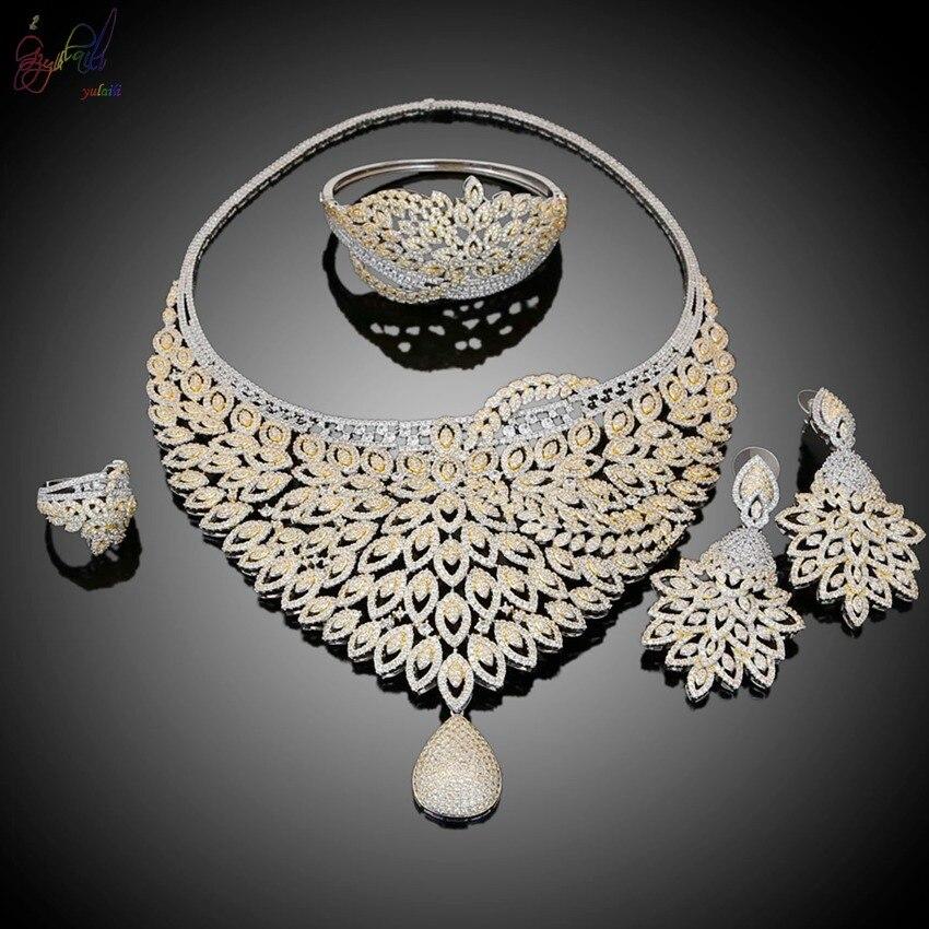 Yulaili nouveau européen américain femmes mode bijoux pendentif cristal collier Bracelet anneau boucles d'oreilles ensembles de bijoux - 2
