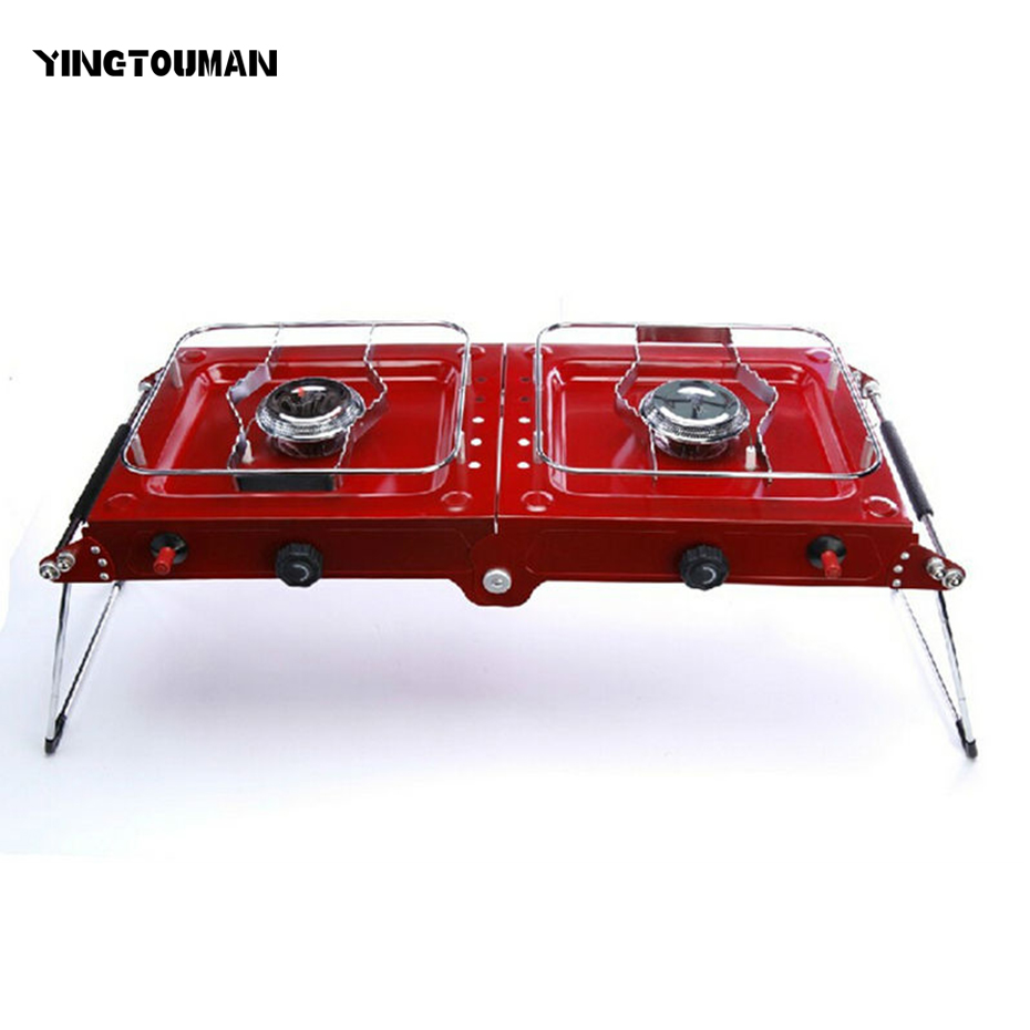YINGTOUMAN Folding Double Cooking Range Gas Stove for Camping Hiking Picnic Portable Outdoor Burner Stove gh2 gas range with 2 burner for commercial use