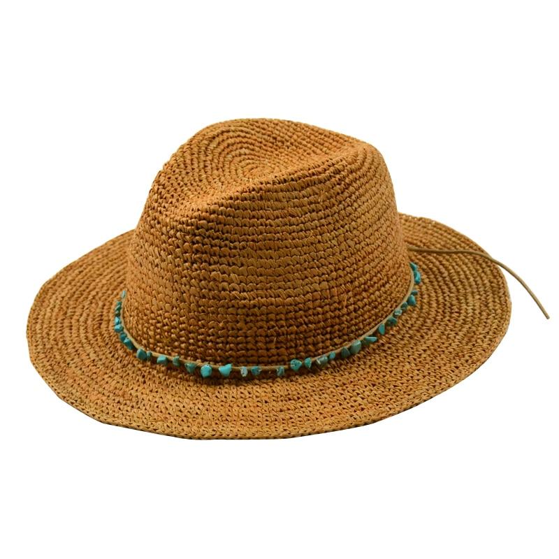 Raffia Straw Hats For Women Fashion Manual Weave Raffia Men s Sun Hats  Turquoise Decoration Foldable Sun Hats Caps Accessories-in Sun Hats from  Apparel ... eea3abb4420