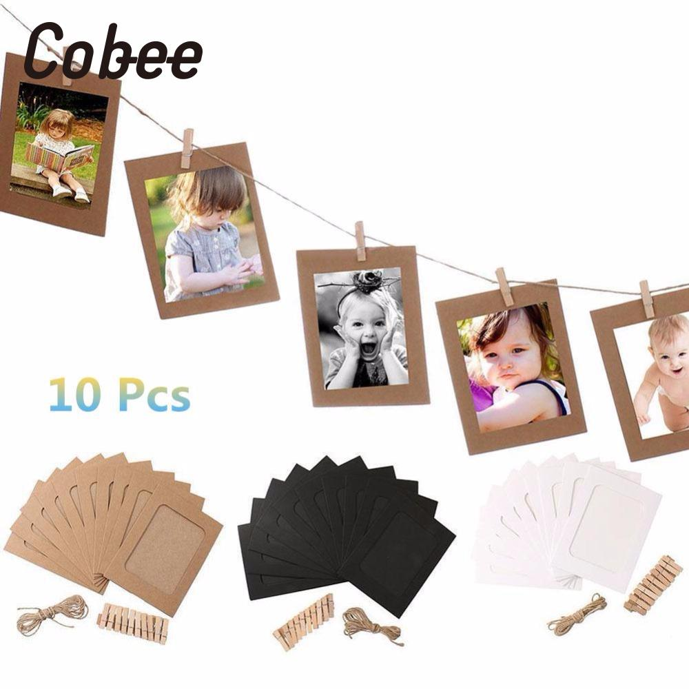 Cobee 10 Set Vintage Paper Photo Frame DIY Wall Picture Hanging Album Rope Clip Home Creative Gift High Quality Clips