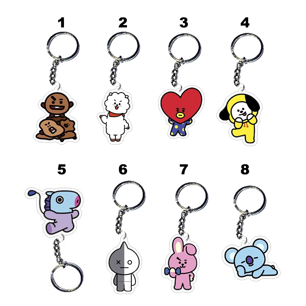 8-Style-KPOP-BTS-Keyring-BT21-Bangtan-Boys-Key-Chain-Love-Yourself-Acrylic-J-HOPE-V