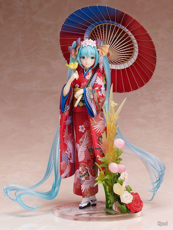 Anime Hatsune Miku Action Figure Kimono Miku 1 8 Scale Model Dolls Decoration Pvc Collection Figurine
