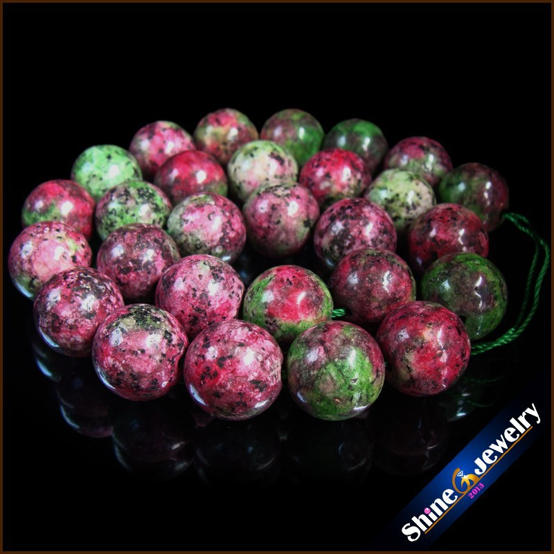 Wholesale Natural 14mm Round Brilliant Shape Red and Green Zoisite Stones Loose Beads Strand 15 Free shipping