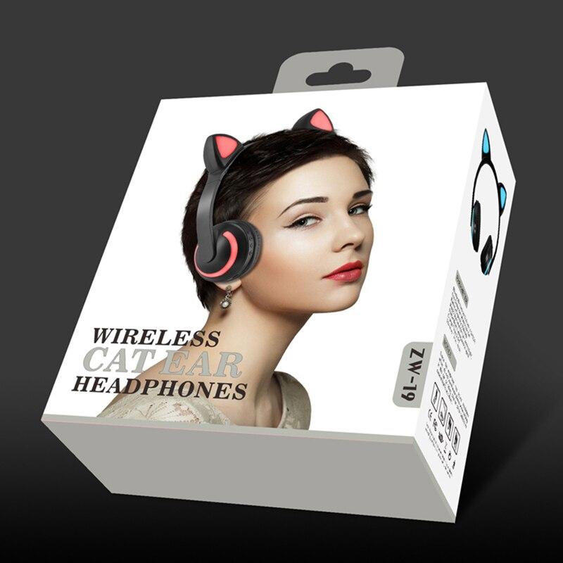 Zw 19 Headphone Bluetooth Earphone Cosplay Ear Flash Cat Ears Headset Wireless Hifi Stereo Headset For Women Girl Gift Bluetooth Earphones Headphones Aliexpress