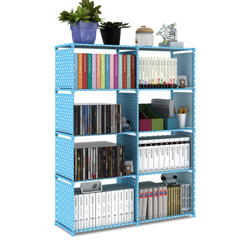 Y107,2*5 layer Simple assembly Metal reinforced bookcase combination Multi-function bookcase Indoor floor Shelf display shelf bookcase 60 h dark taupe black metal 7241
