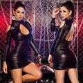 2 estilo Sexy de cuero negro vinilo Bodycon Mini vestido gótico Hollow cabo fetiche del vestido malla de baile Ladygaga ropa Clubwear 2016