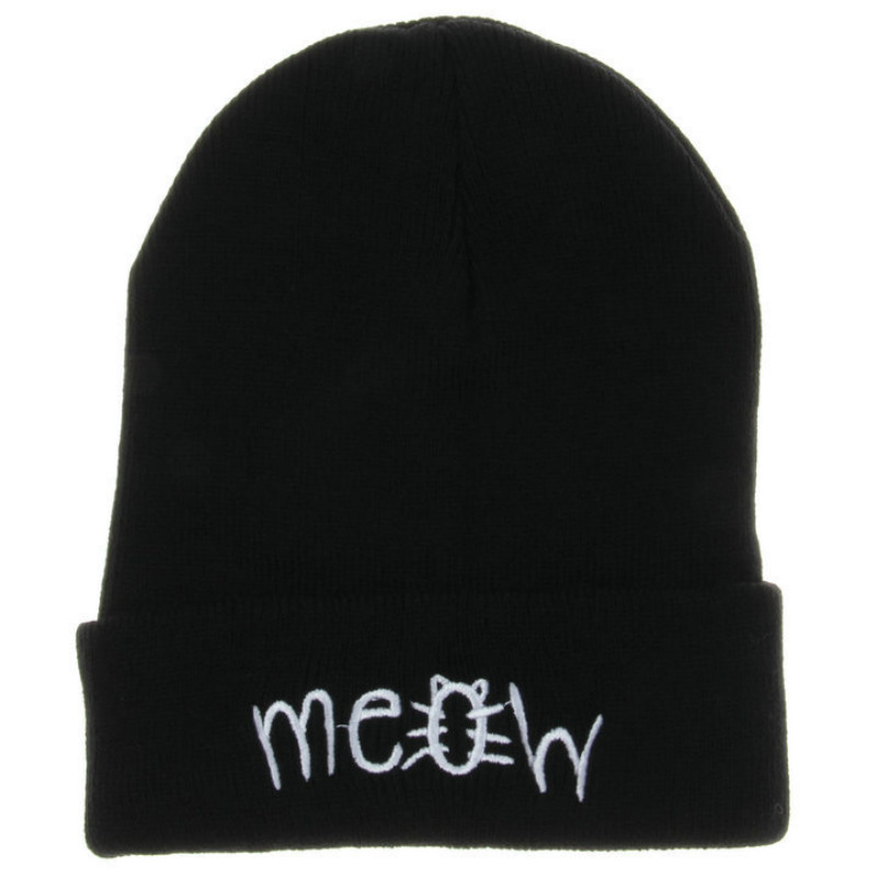 Hats For Men Women Female Winter Hats Women Hat Knitting MEOW Letter Beanie Cap Bonnet Femme Hiphop Cap Warm Beanie Hat the new 2016 han edition affixed cloth wave cap hat hat tip to keep warm letter knitting hat qiu dong men and women
