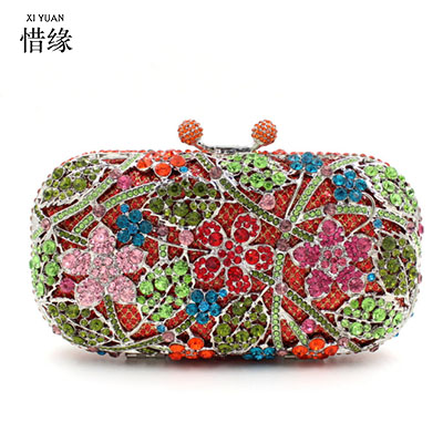 XIYUAN BRAND 2017 Luxury European and American Style cherry blossoms full Diamond evening bag banquet shoulderbag