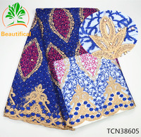 Beautifical African French Lace Fabric With Embroidery 2017 High Quality Rhinestone Tulle Lace Fabric For Dresses
