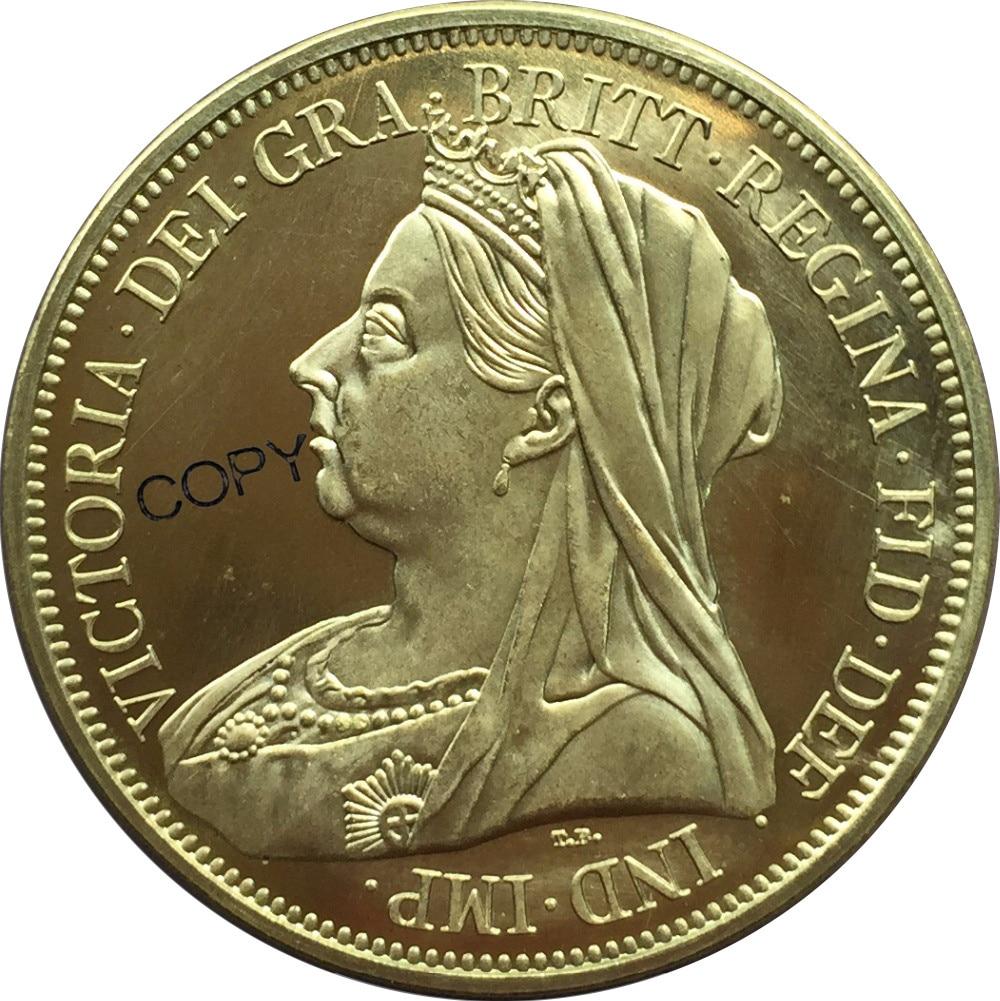 Grande britânia cinco victoria moeda de ouro 1893 moedas comemorativas bronze moeda de metal