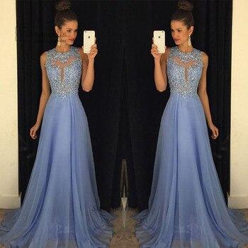 Lavender Modest Robe de Soiree Courte Evening Dresses Long Elegant Lace Prom Dress 2016 Beads Abendkleider Gowns Vestidos